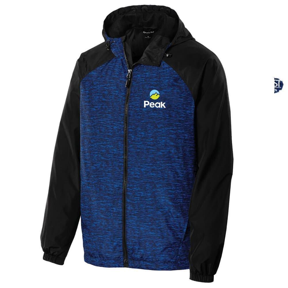 Sport-Tek� Men's Heather Colorblock Raglan Hooded Wind Jacket - Personalization Available