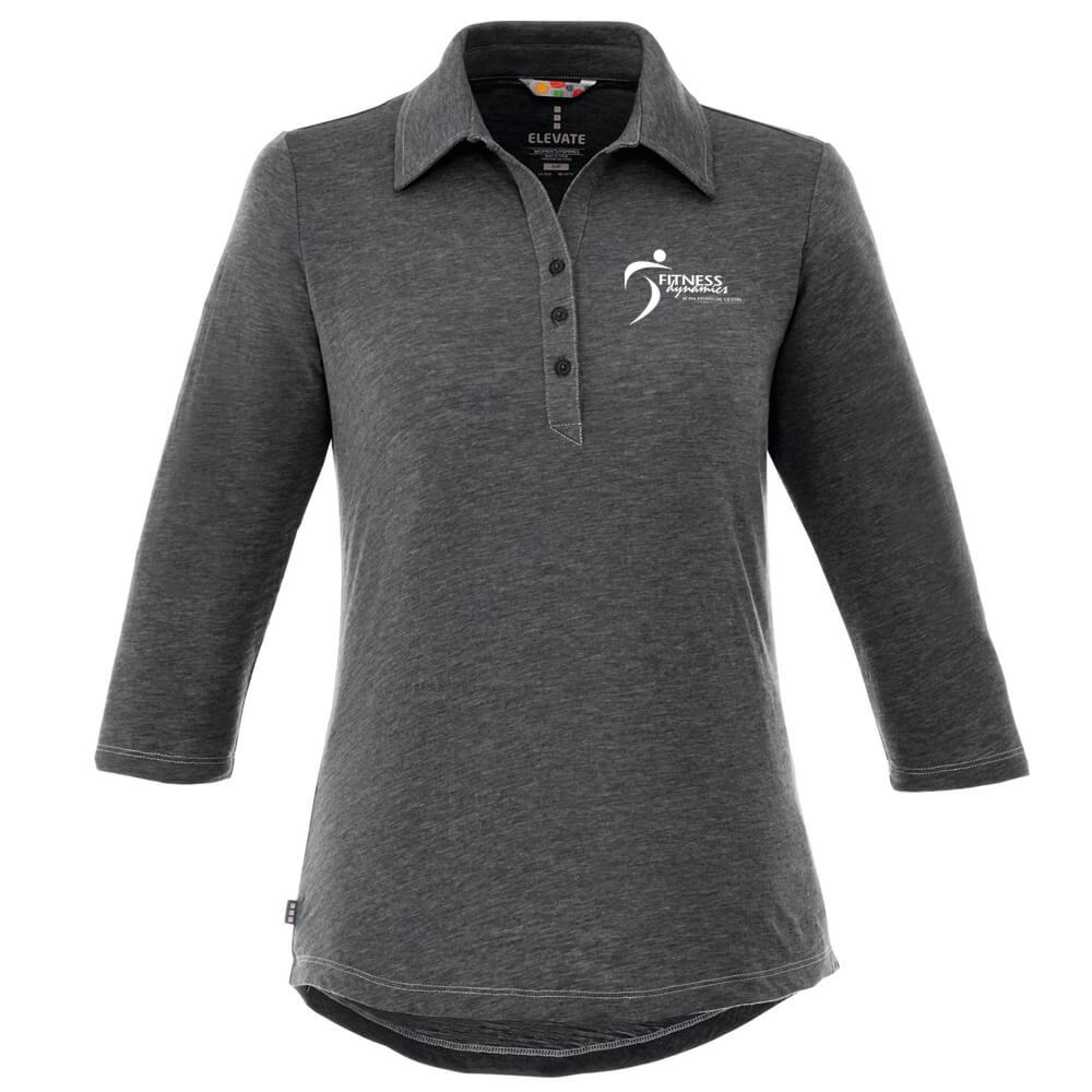 Elevate® Women's Tipton 3/4 Sleeve Heathered Polo - Embroidery Personalization Available