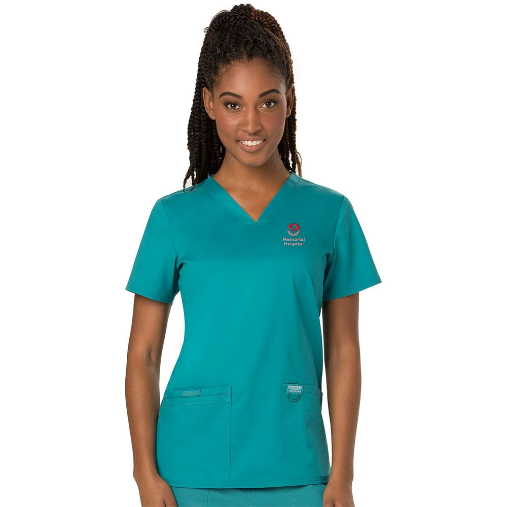 Cherokee® Women's Two-Pocket Workwear Revolution V-Neck Scrubs Top - Personalization Available