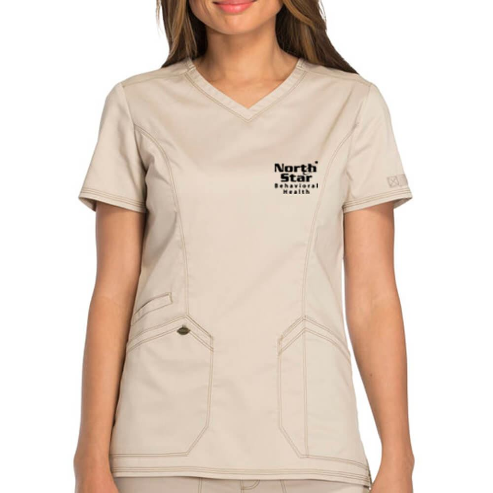 Dickies® Women's Two-Pocket Essence V-Neck Scrubs Top - Personalization Available