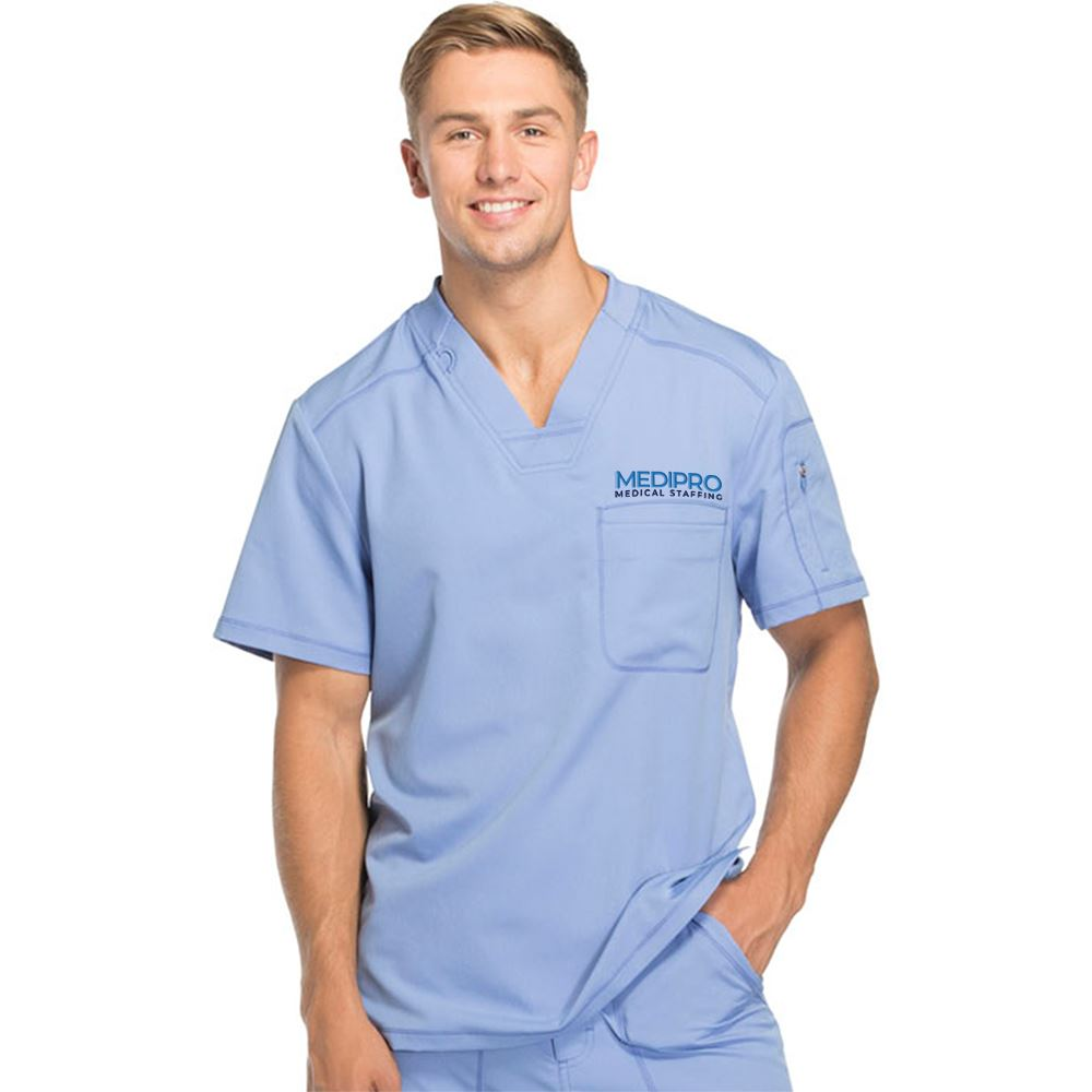 Dickies® Men's Two-Pocket Dynamix V-Neck Scrubs Top - Personalization Available