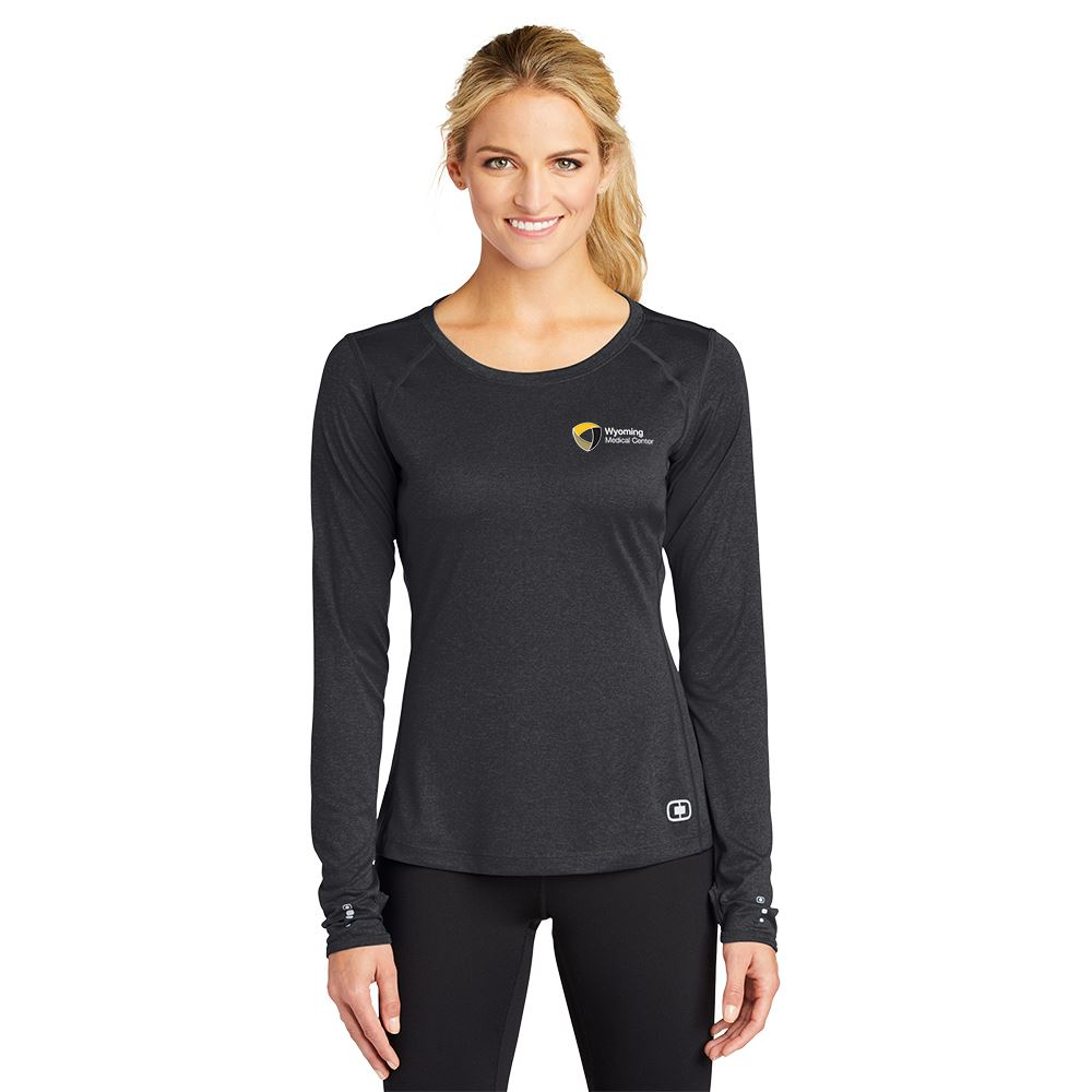 OGIO® Women's Performance Wicking Long Sleeve Pulse Crew Shirt- Embroidered Personalization Available