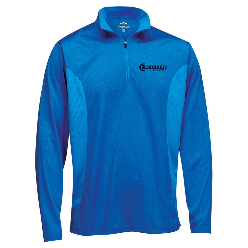 Tri-Mountain® Men's Sprinter Heather Jersey Long-Sleeve 1/4-Zip Pullover - Personalization Available