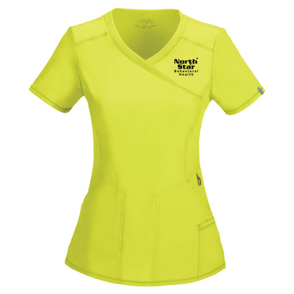 Cherokee® Women's Mock Wrap Scrubs Top -Embroidered Personalization Available