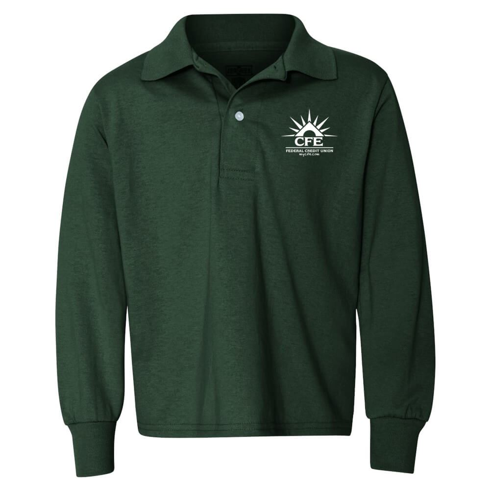 a04a58b15f2 Jerzees® Spotshield™ Youth 50/50 Long Sleeve Polo - Personalization  Available | Positive Promotions