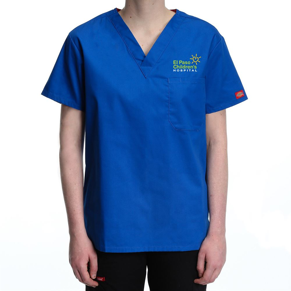 Dickies® V-Neck One-Pocket Scrubs Top - Personalization Available