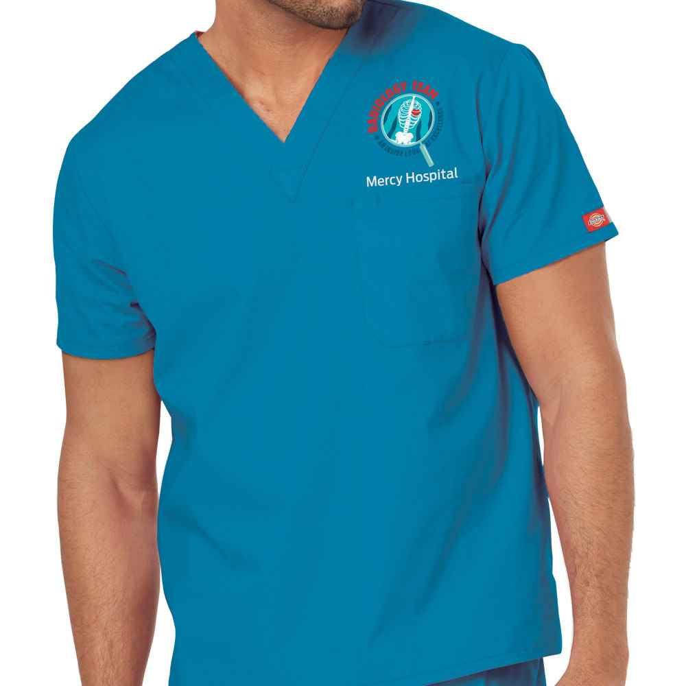 Radiology Dickies® Unisex V-Neck One-Pocket Scrub Top - Personalization Available