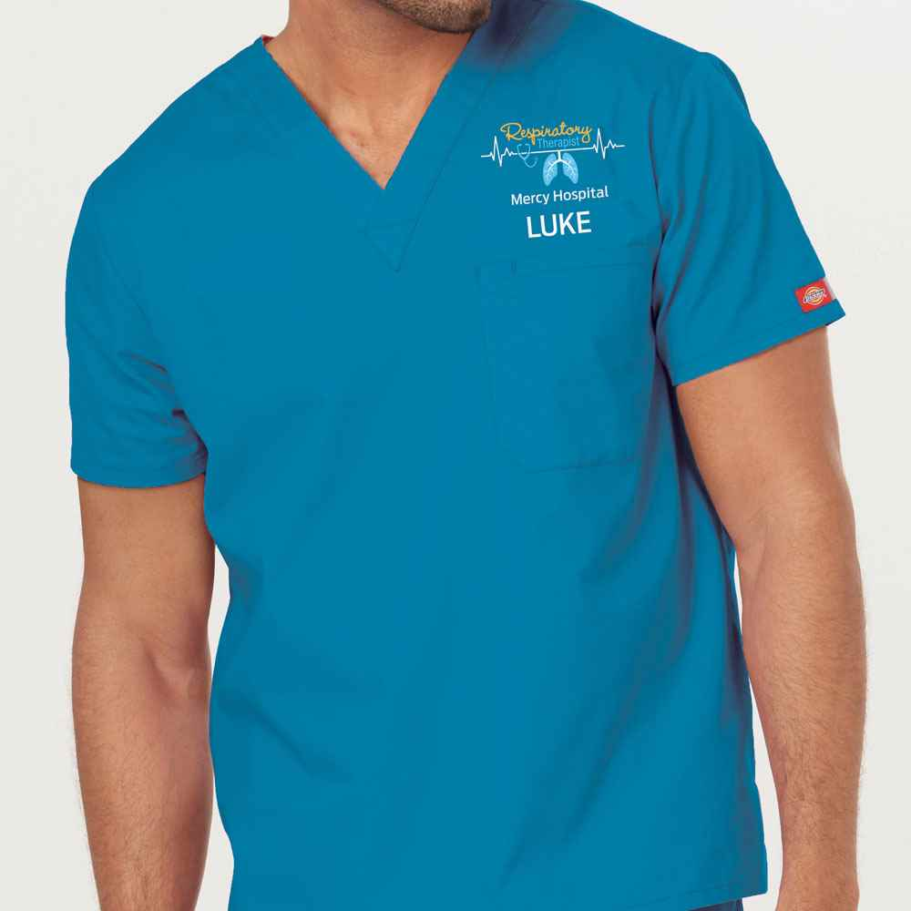 Respiratory Dickies® Unisex V-Neck One Pocket Top - Personalization Available
