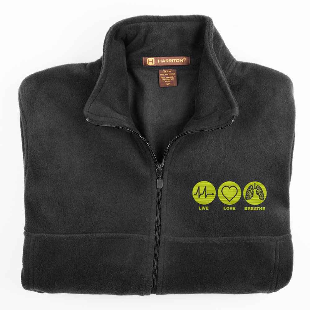 Live, Love, Breathe Harriton® Men's Full-Zip Fleece Jacket - Personalization Available