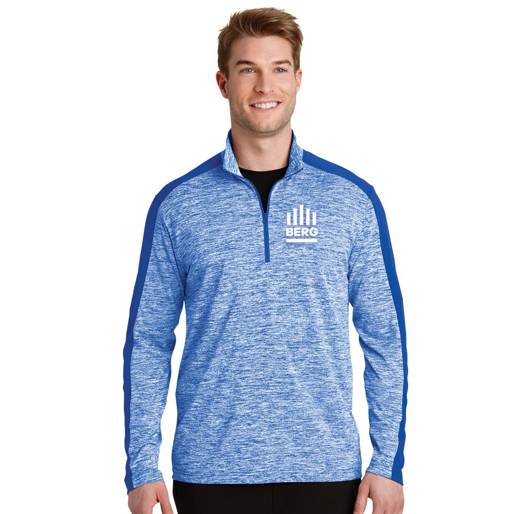 Sport-Tek® Men's PosiCharge® Electric Heather Colorblock Quarter-Zip Pullover - Embroidered Personalization Available