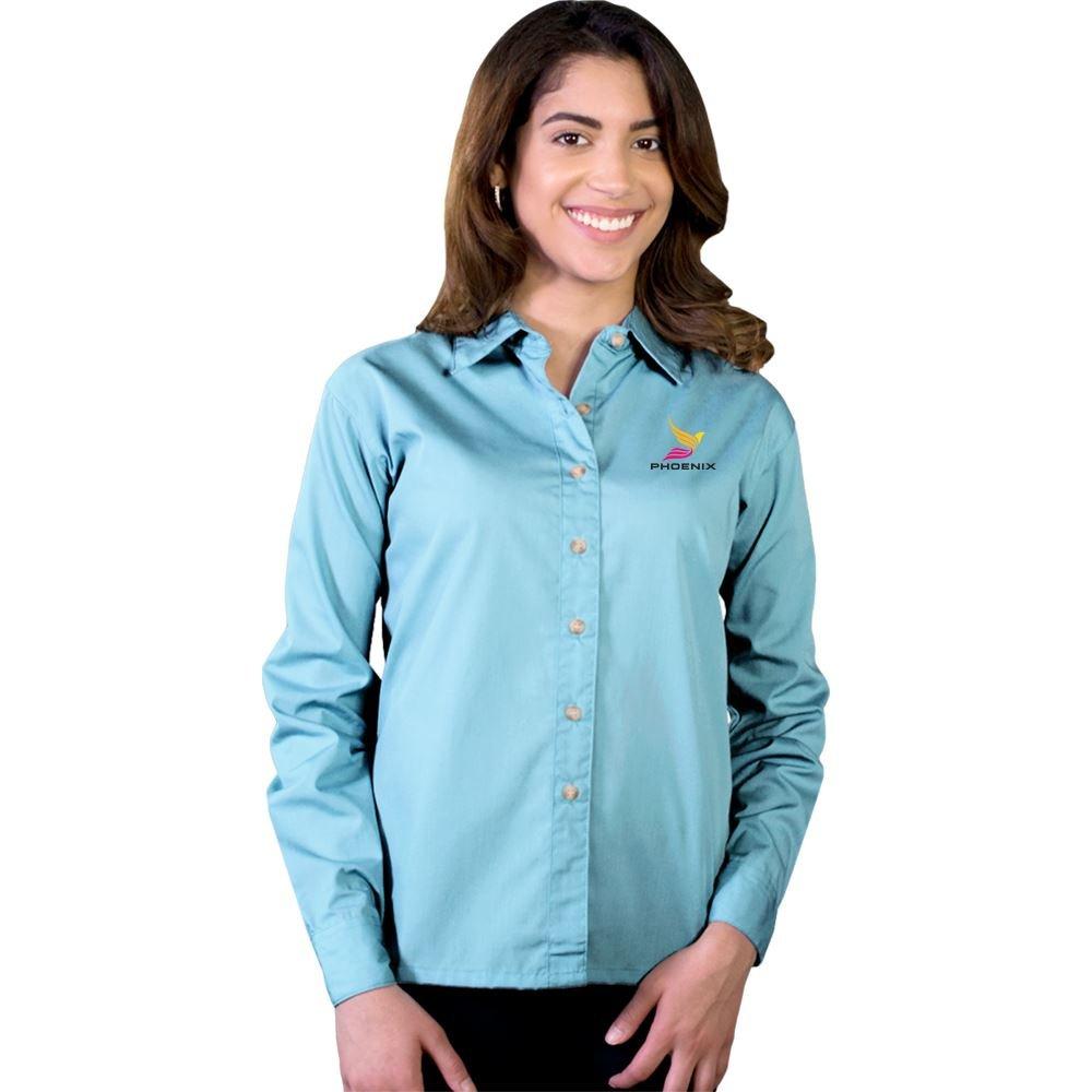Blue Generation® Superblend Women's Stain-Release Poplin Woven Long-Sleeve Shirt