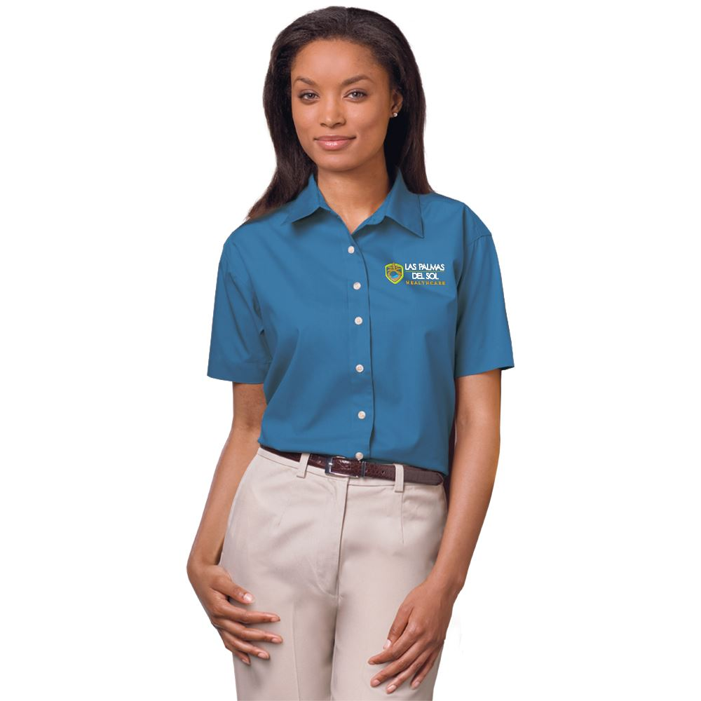 Blue Generation® Superblend Women's Stain-Release Poplin Short-Sleeve Woven Shirt - Embroidered Personalization Available