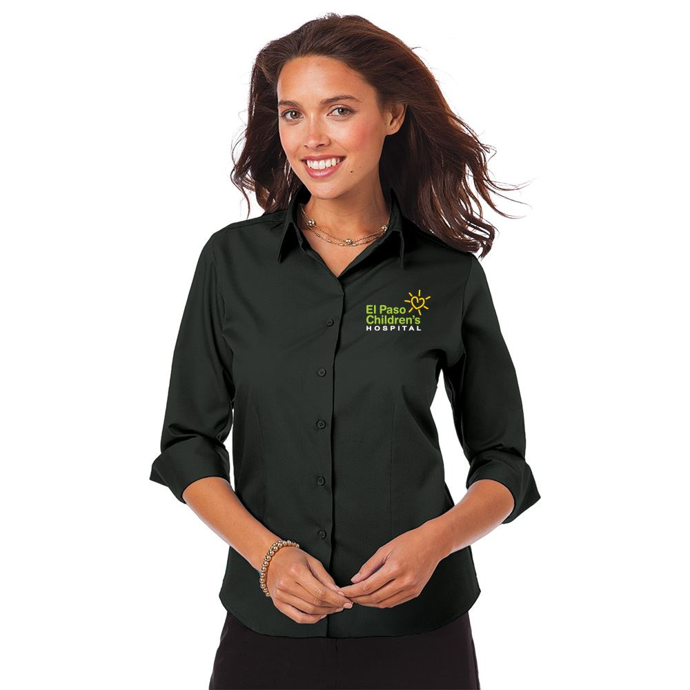 Blue Generation® Untucked Superblend Women's Poplin 3/4 Sleeve Shirt - Personalization Available