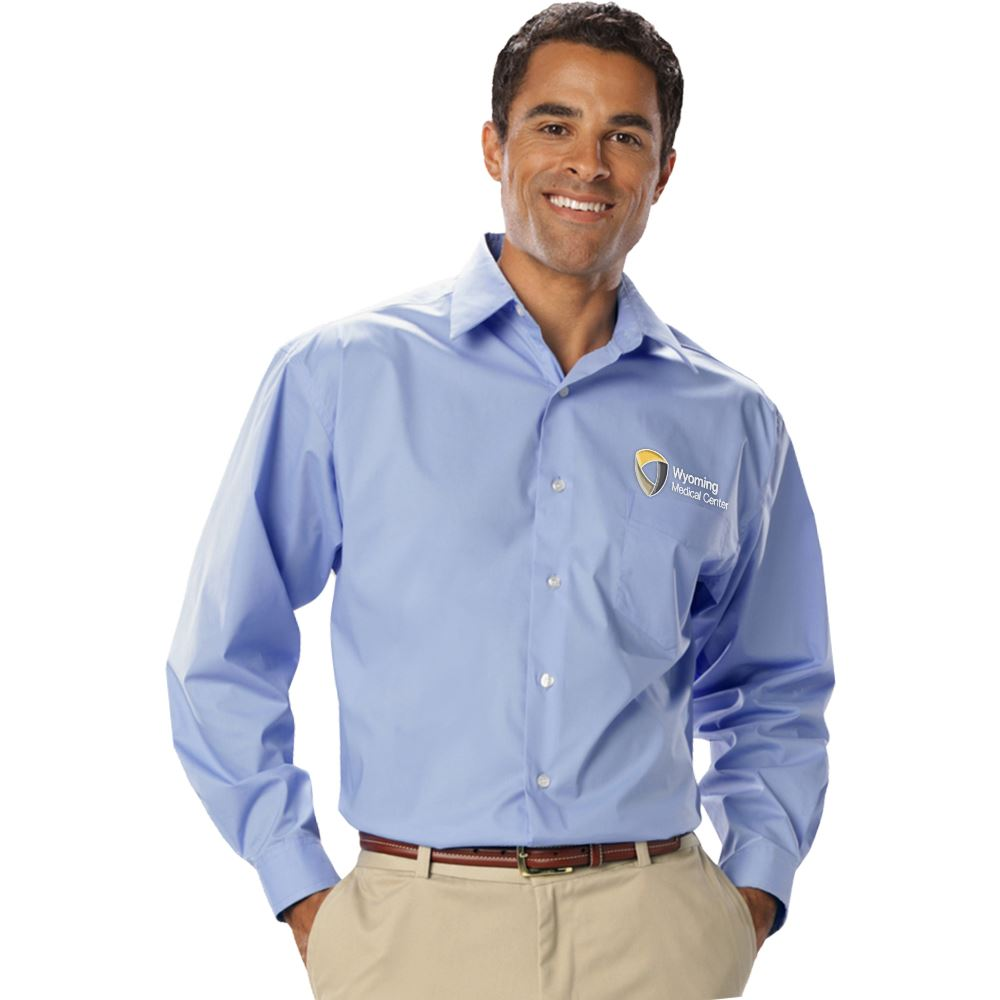 Blue Generation® Men's Stretch Poplin Long-Sleeve Woven Shirt - Embroidery Personalization Available