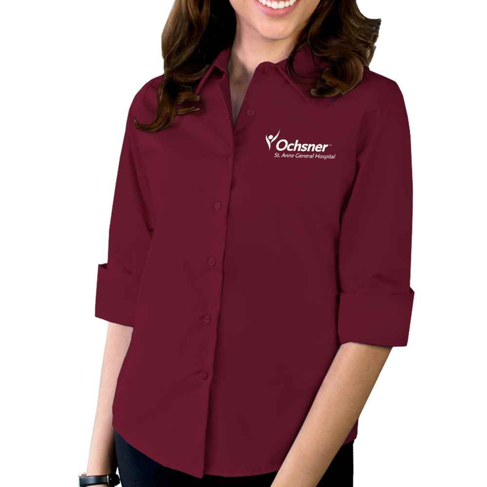 Blue Generation® Women's Stretch Poplin 3/4 Sleeve Woven Shirt - Embroidery Personalization Available