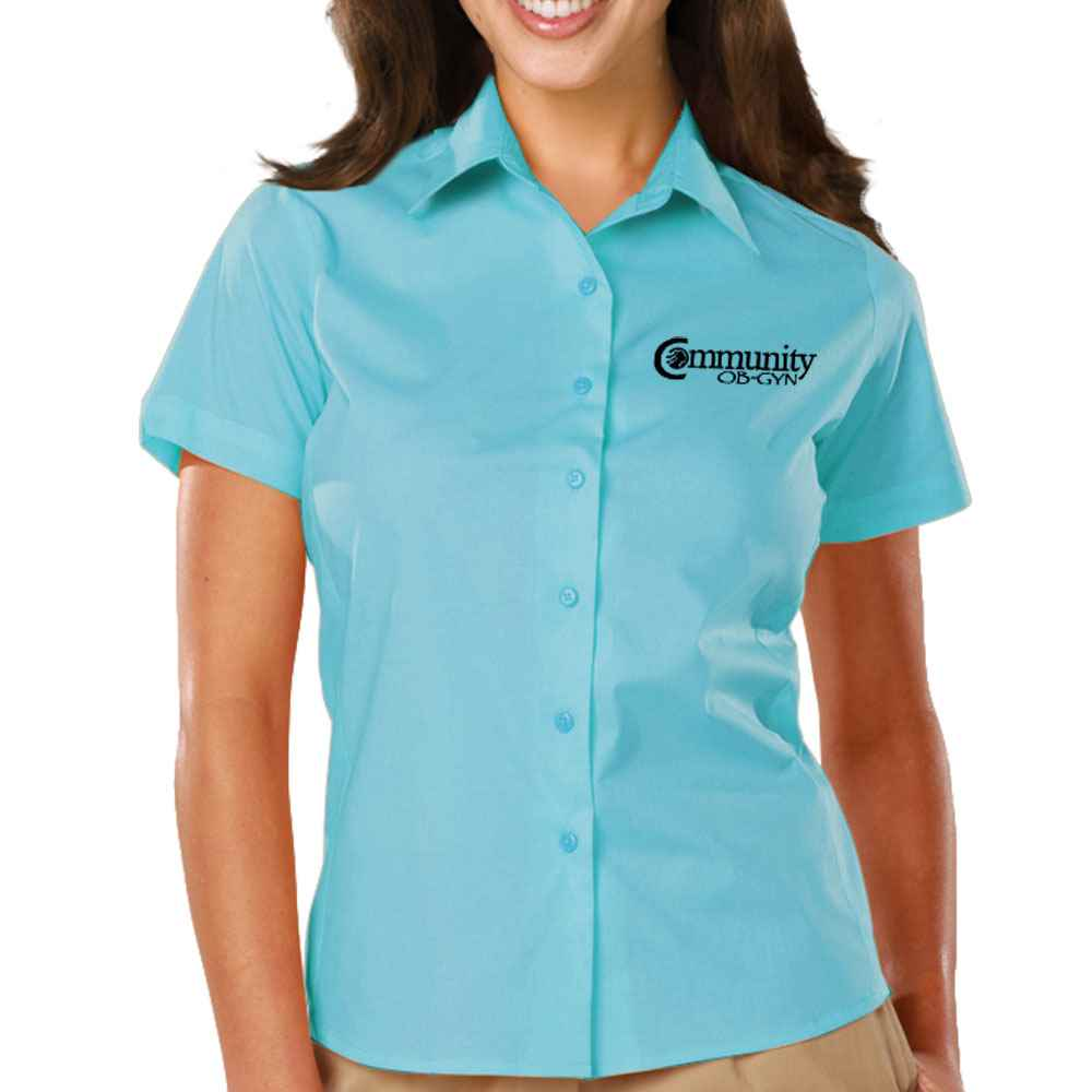 Blue Generation® Women's Stretch Poplin Short-Sleeve Woven Shirt