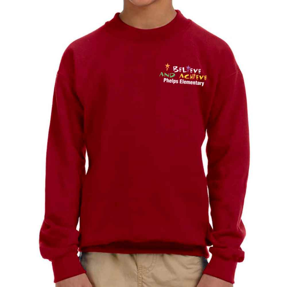 Gildan® Youth Heavy Blend™ 50/50 Fleece Crewneck Sweatshirt - Embroidery Personalization Available