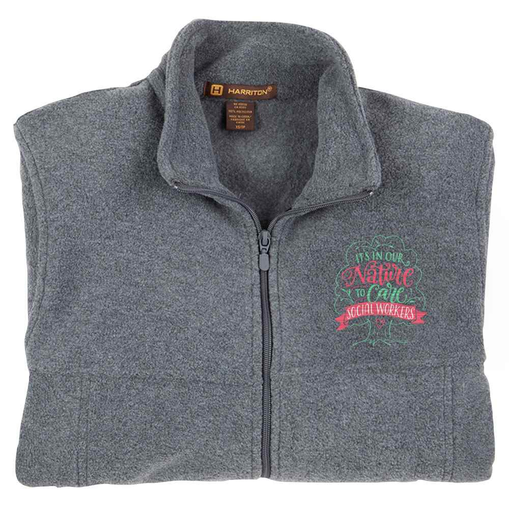Social Workers: It's In Our Nature To Care Harriton® Men's Full-Zip Fleece Jacket - Personalization Available