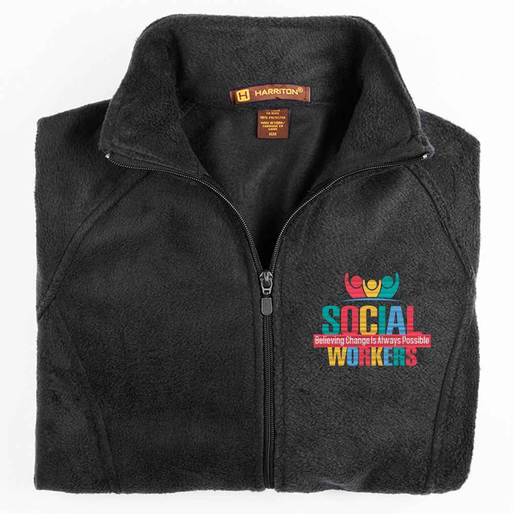 Social Workers: Believing Change Is Always Possible Harriton® Men's Full-Zip Fleece Jacket - Personalization Available