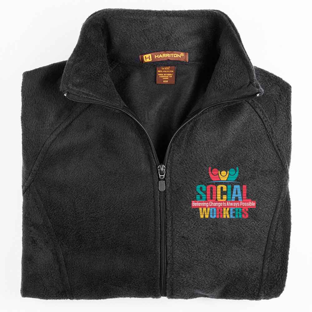 Social Workers: Believing Change Is Possible Harriton® Women's Full-Zip Fleece Jacket - Personalization Available