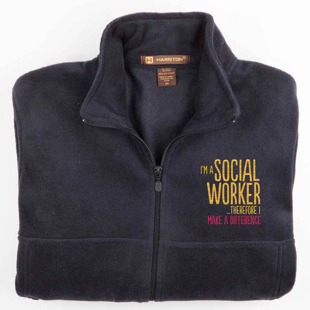 I'm A Social Worker...Therefore I Make A Difference Harriton® Men's Full-Zip Fleece Jacket - Personalization Available
