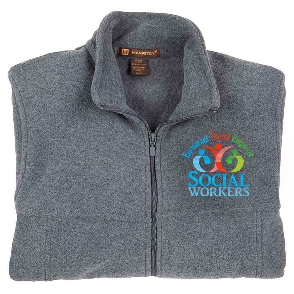 Social Workers: Encourage, Enrich, Empower Harriton® Men's Full-Zip Fleece Jacket - Personalization Available