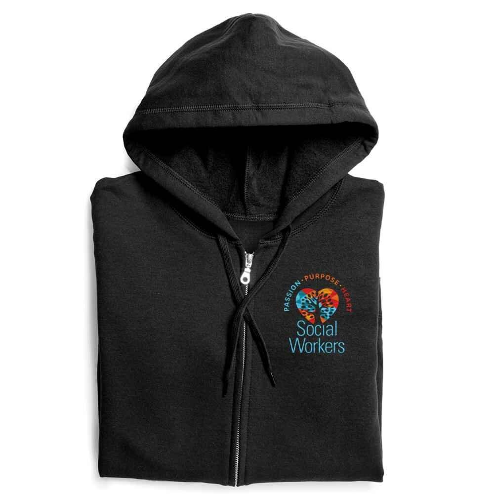 Social Workers: Passion, Purpose, Heart Gildan® Heavy Blend™ Women's 8-Oz., 50/50 Full-Zip Hooded Sweatshirt - Personalization Available
