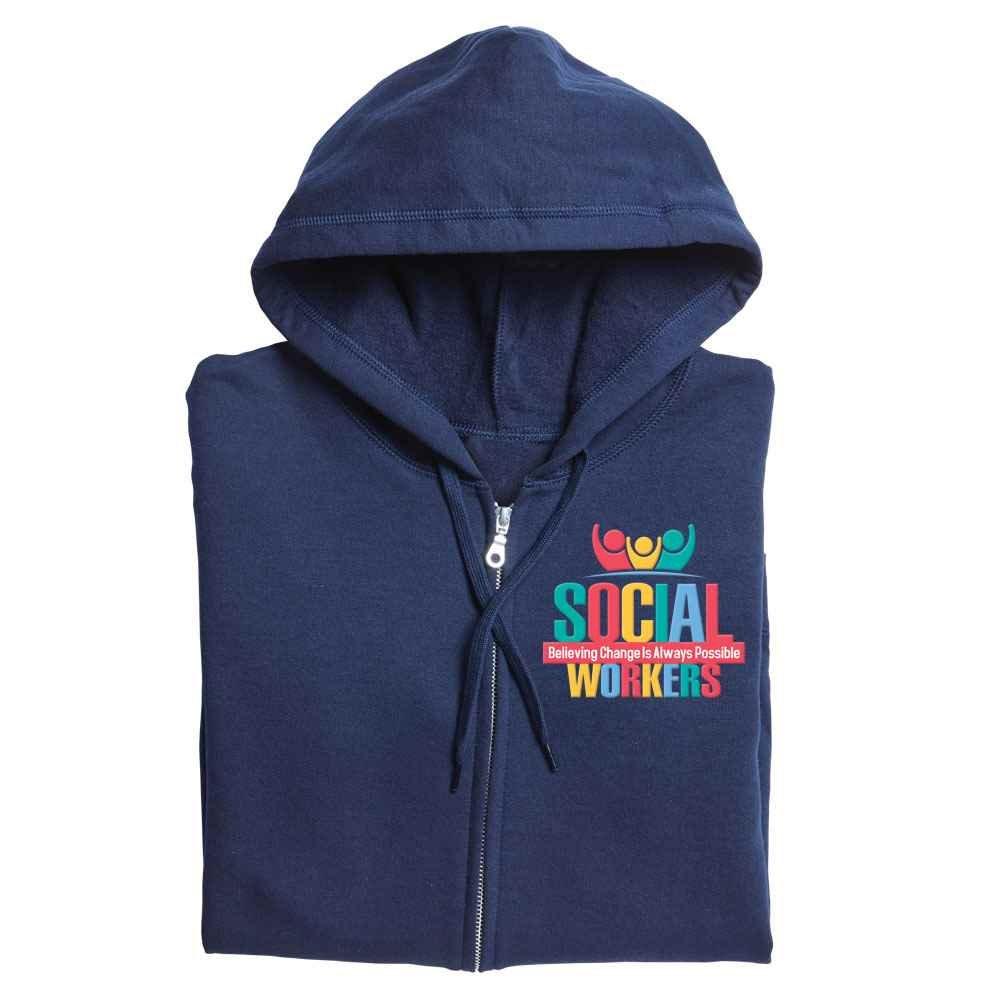 Social Workers: Believing Change Is Always Possible Gildan® Heavy Blend™ Women's 8-Oz. 50/50 Full-Zip Hooded Sweatshirt - Personalization Available