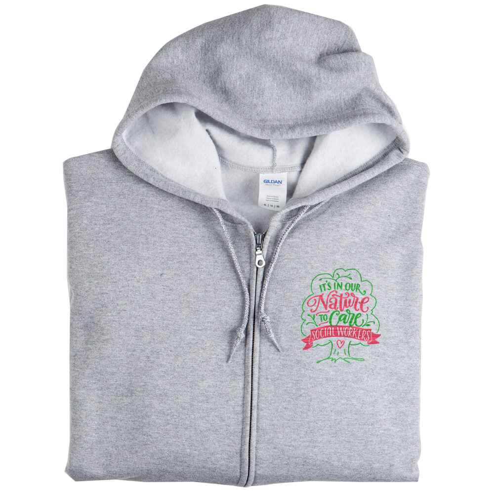 Social Workers: It's in Our Nature To Care Gildan® Heavy Blend™ Men's 8-Oz., 50/50 Full-Zip Hooded Sweatshirt - Personalization Available