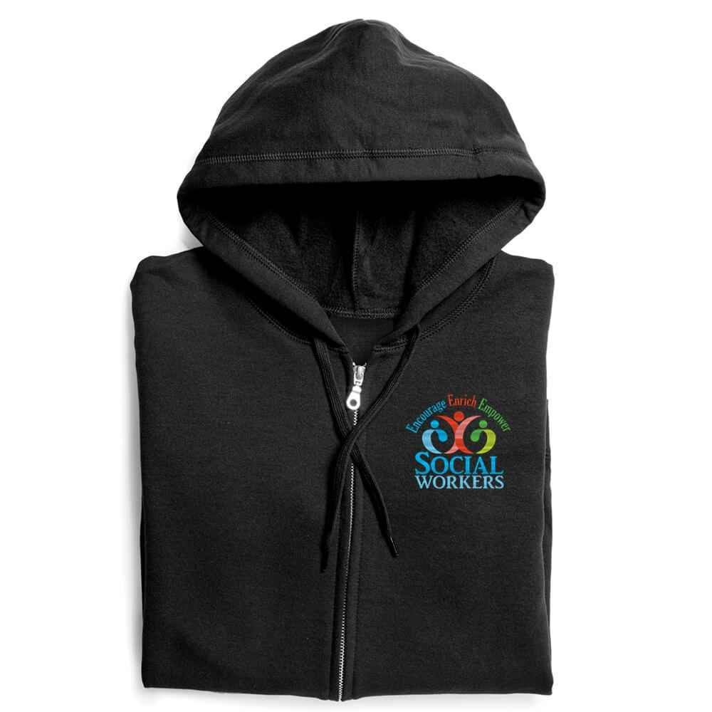 Social Workers: Encourage, Enrich, Empower Gildan® Heavy Blend™ Women's 8-Oz., 50/50 Full-Zip Hooded Sweatshirt - Personalization Available