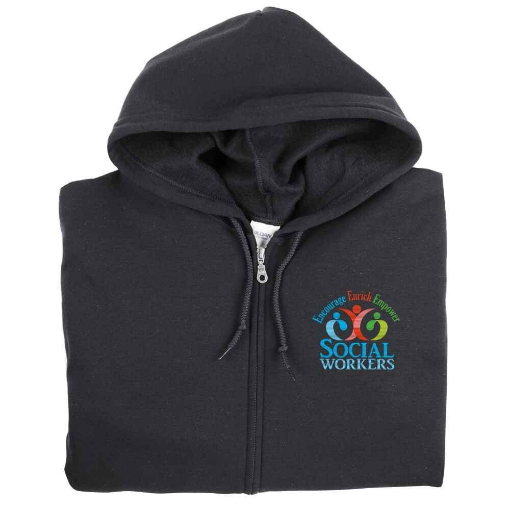 Social Workers: Encourage, Enrich, Empower Gildan® Heavy Blend™ Men's 8-Oz., 50/50 Full-Zip Hooded Sweatshirt - Personalization Available