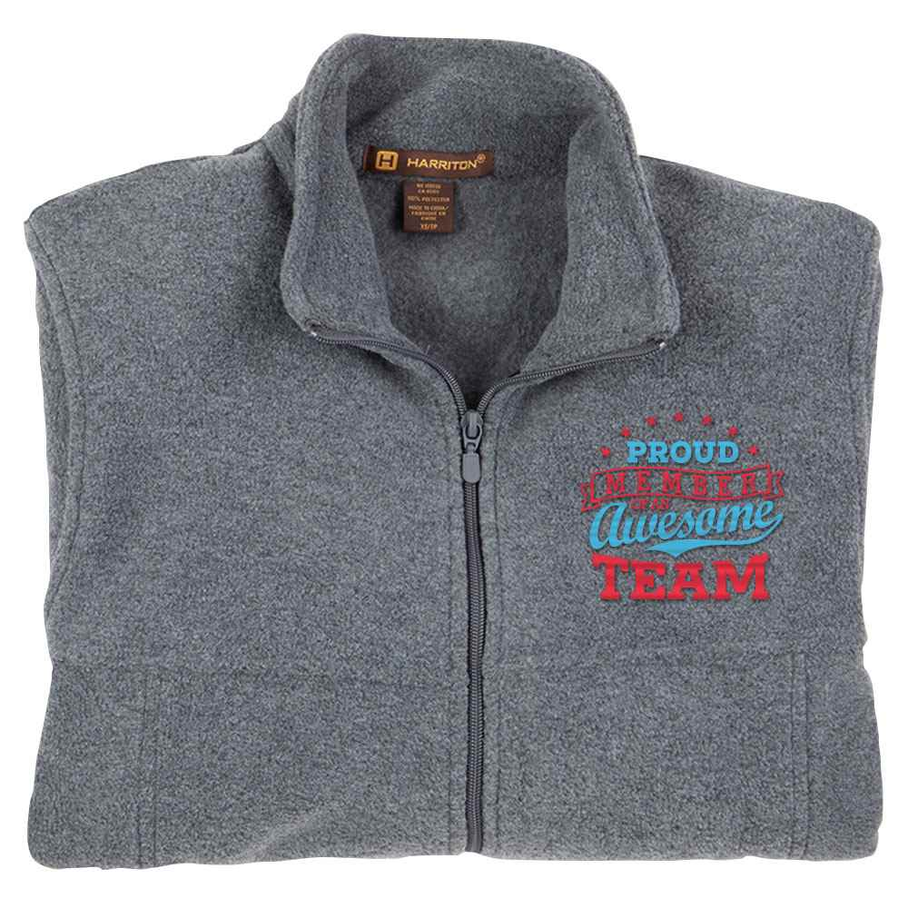 Proud Member Of An Awesome Team Harriton® Fleece Full-Zip Jacket - Personalization Available