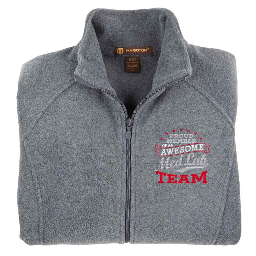 Proud Member Of An Awesome Med Lab Team Harriton® Fleece Full-Zip Women's Jacket - Personalization Available