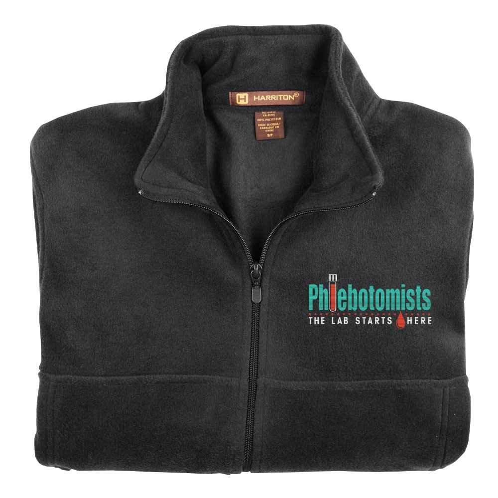 Phlebotomists: The Lab Starts Here Harriton® Fleece Full-Zip Men's Jacket - Personalization Optional