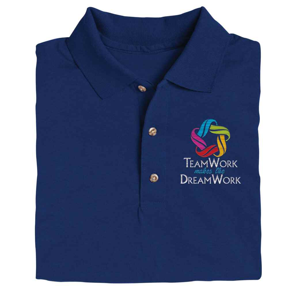 Teamwork Makes The Dream Work Gildan® Dryblend Jersey Polo - Personalization Available