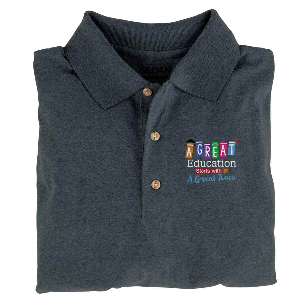 A Great Education Starts With A Great Team Gildan® DryBlend Jersey Polo - Embroidery Personalization Available
