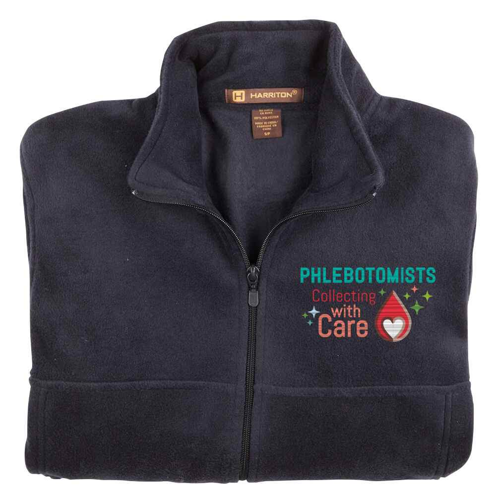 Phlebotomists: Collecting With Care Harriton® Full-Zip Fleece Jacket - Personalization Available