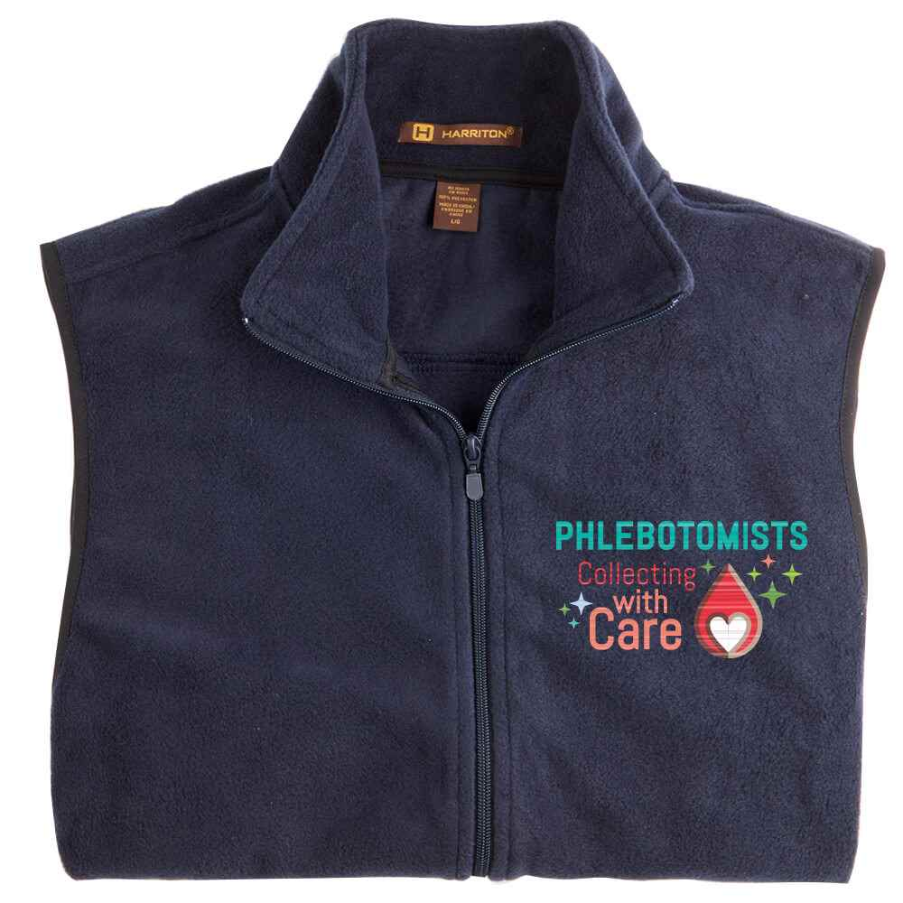 Phlebotomists: Collecting With Care Harriton® Full-Zip Fleece Vest - Personalization Available