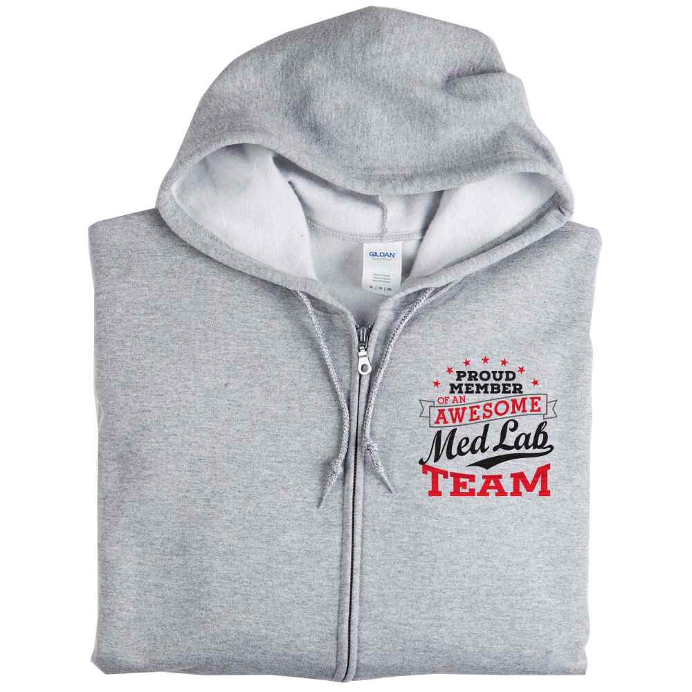 Proud Member Of An Awesome Med Lab Team Gildan® Full-Zip Hooded Sweatshirt - Personalization Available