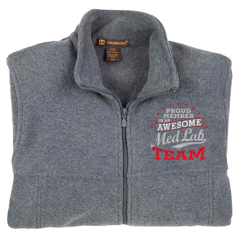 Proud Member Of An Awesome Med Lab Team Harriton® Fleece Full-Zip Men's Jacket - Personalization Optional