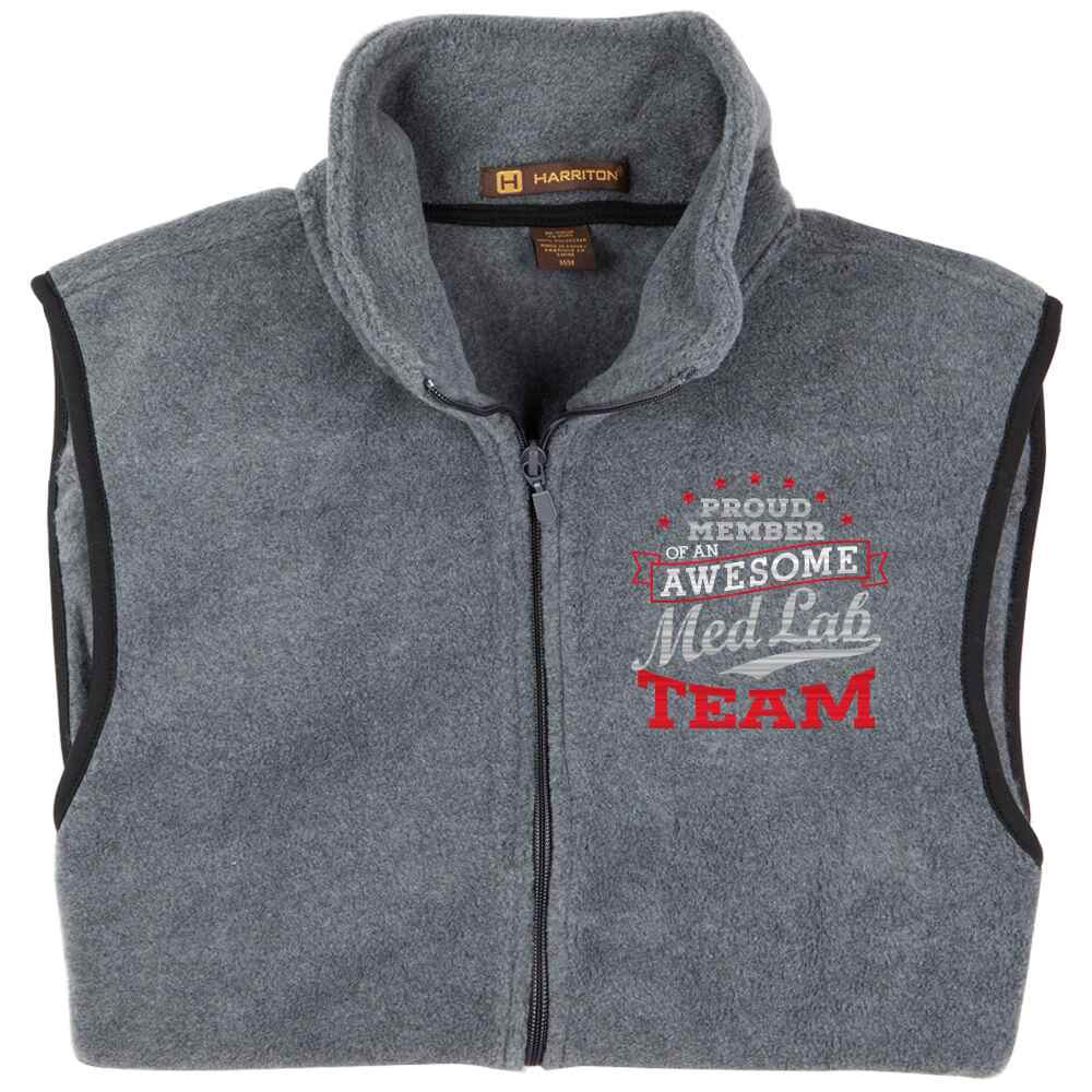 Proud Member Of An Awesome Med Lab Team Harriton® Full-Zip Fleece Vest - Personalization Available
