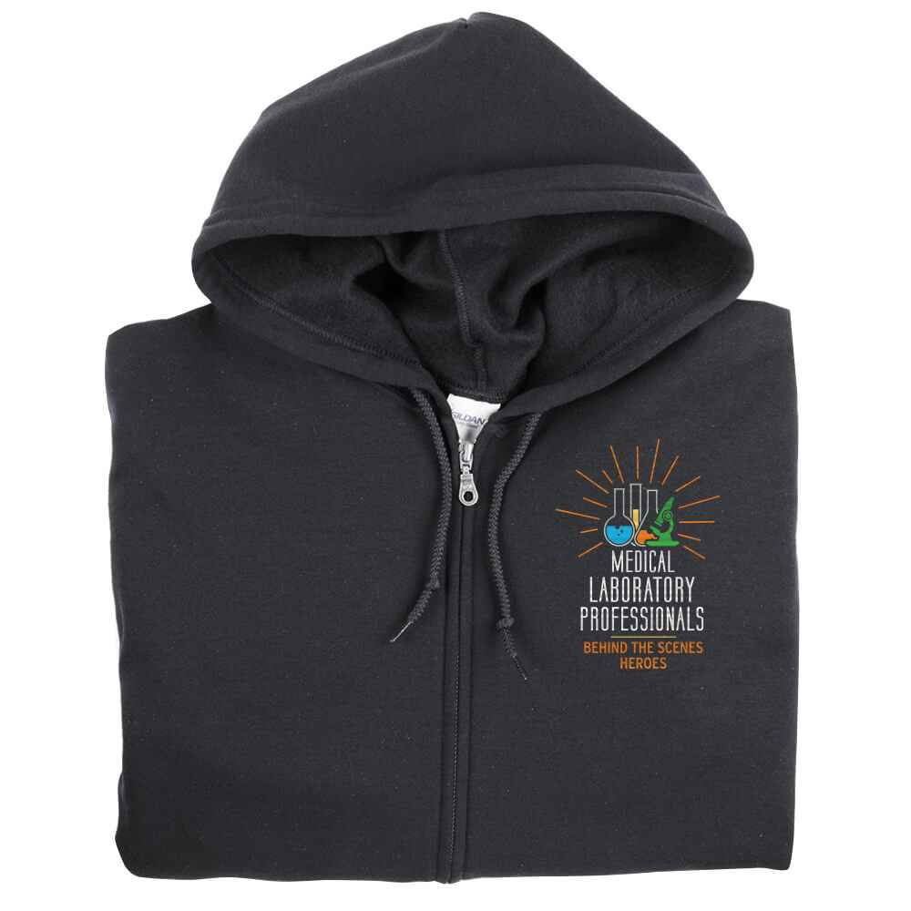 Medical Laboratory Professionals: Behind The Scenes Heroes Gildan® Full-Zip Hooded Sweatshirt - Personalization Available