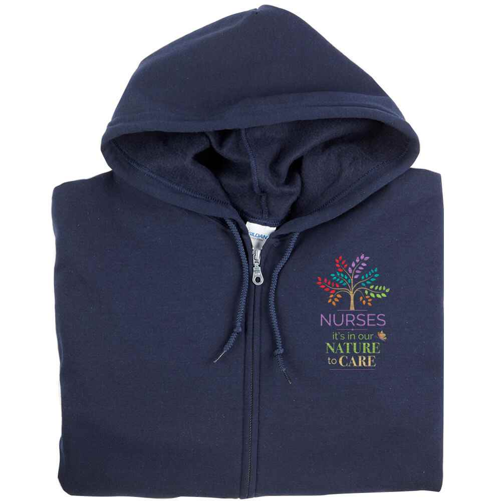 Nurses: It's In Our Nature To Care Gildan® Full-Zip Hooded Sweatshirt - Personalization Available