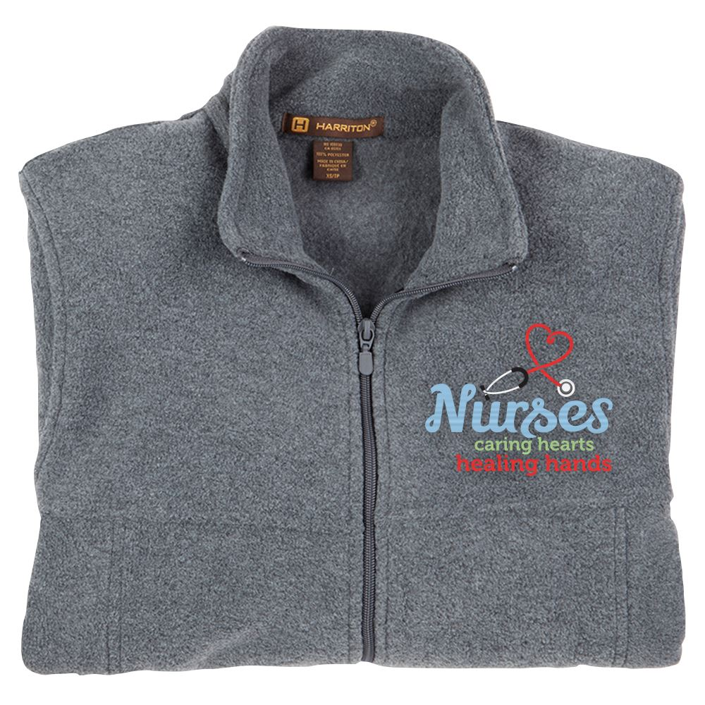 Nurses: Caring Hearts, Healing Hands Harriton® Full-Zip Fleece Jacket - Personalization Available