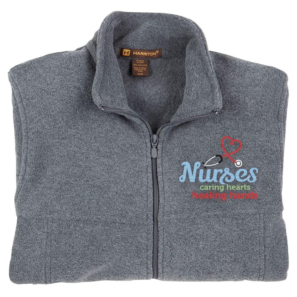 Nurses: Caring Hearts, Healing Hands Harriton® Full-Zip Fleece Jacket - Personalization Available