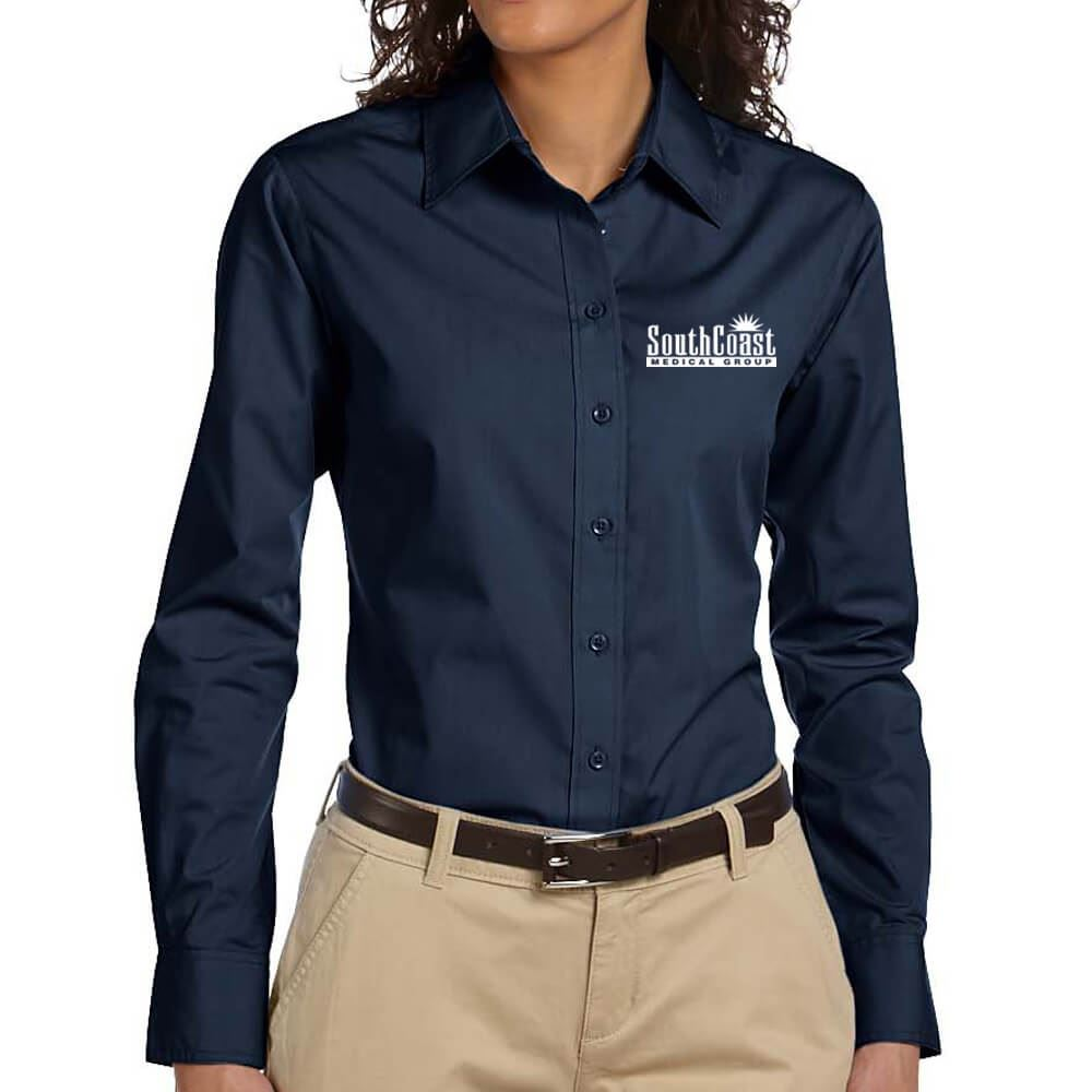Harriton® Women's Essential Poplin Long-Sleeve Shirt - Personalization Available
