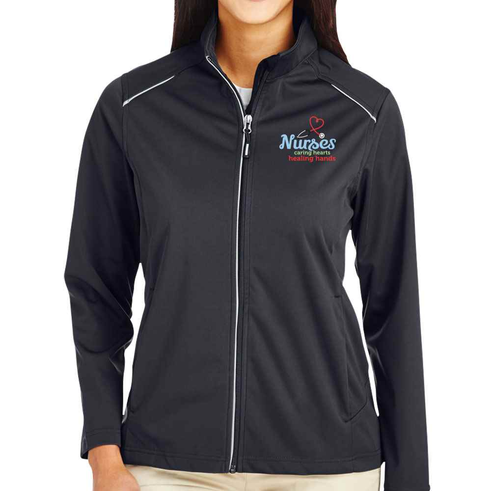 Nurses: Caring Hearts, Healing Hands Core 365® Three-Layer Knit Full-Zip Jacket - Personalization Available