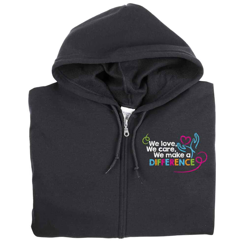 We Love, We Care, We Make A Difference Gildan® Heavy Blend® Full-Zip Hooded Sweartshirt - Personalization Available
