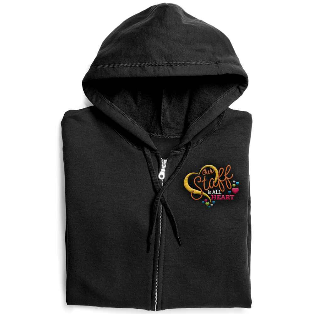 Our Staff Is All Heart Gildan® Full-Zip Women's Hooded Sweatshirt - Personalization Available