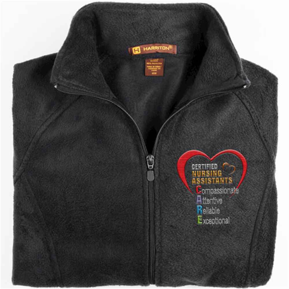 Certified Nursing Assistants: CARE Acronym Harriton® Fleece Full-Zip Women's Jacket - Personalization Available